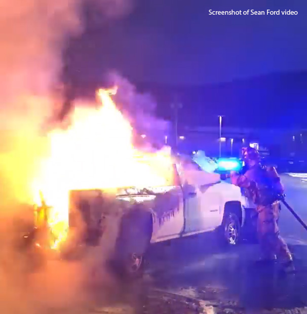 """""""fully engulfed"""" truck appears caused by wiring short"""