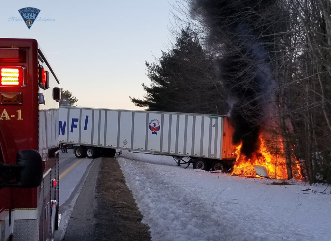 Tractor trailer truck burns in Monday morning accident