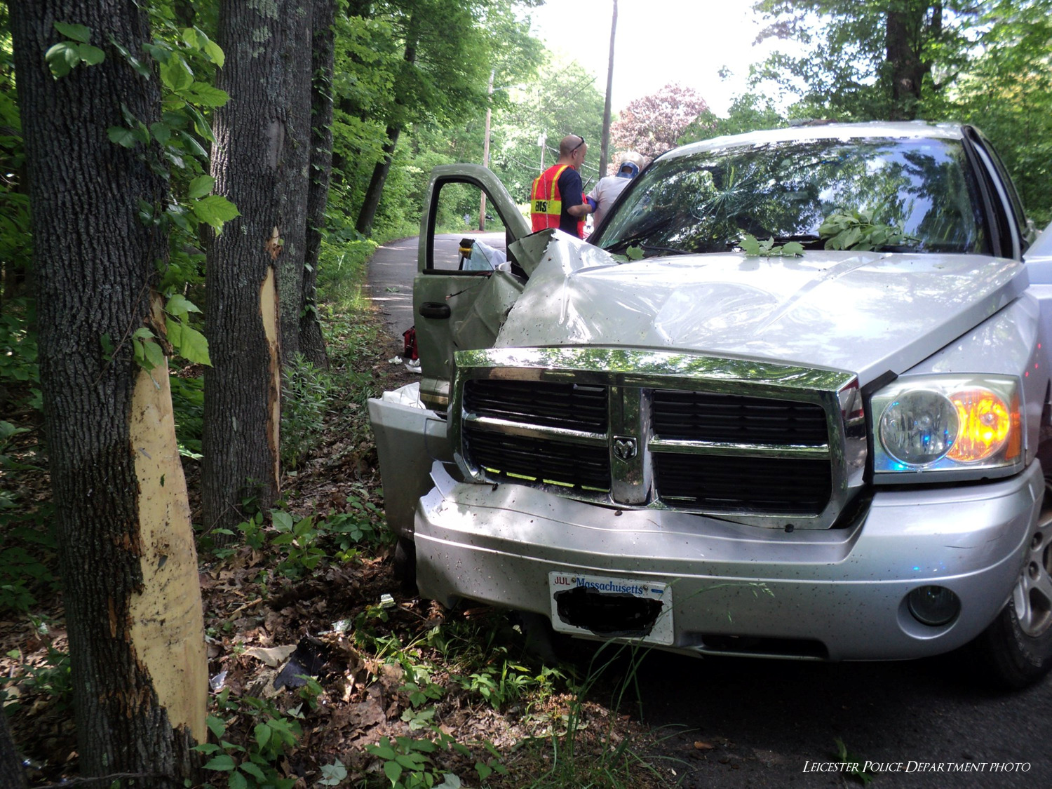 Two sent to hospital after truck crashes into tree