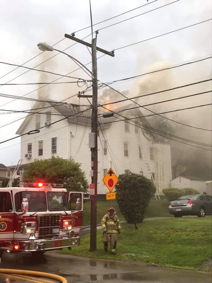 Crews battle three-alarm blaze on Marcy Street