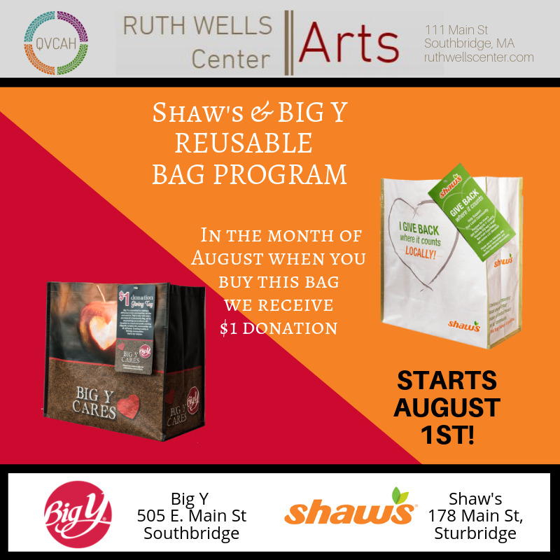 Ruth Wells Center for the Arts Selected as Big Y and Shaw's Community Bag Program Beneficiary for August 2019