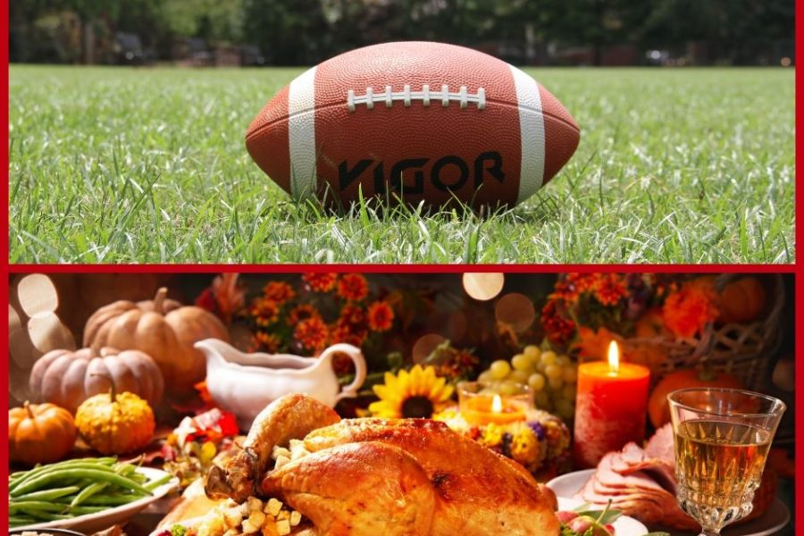 image showing Thanksgiving food and a football