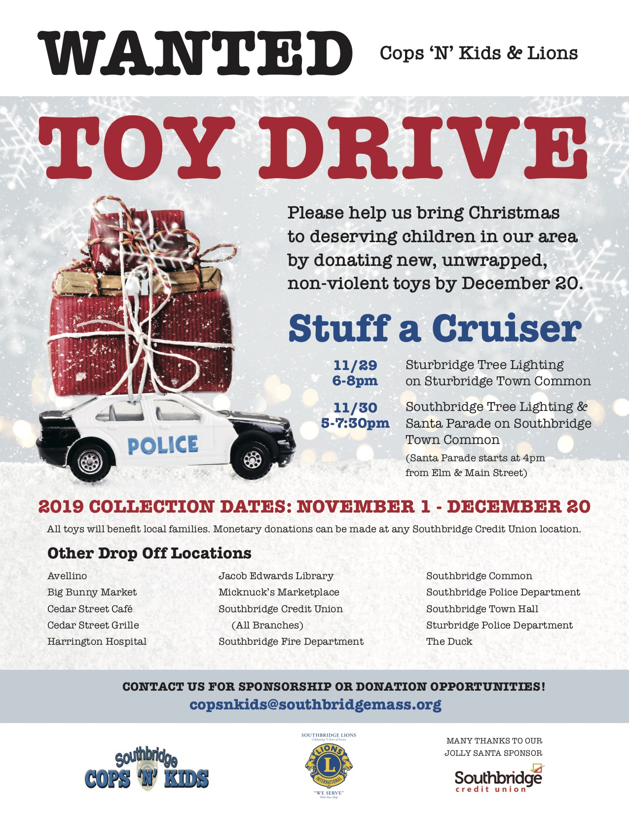 Toy drive underway in Southbridge area