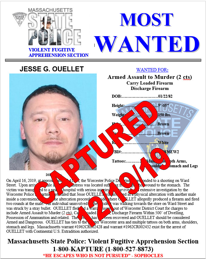 Fugitive apprehended in West Brookfield