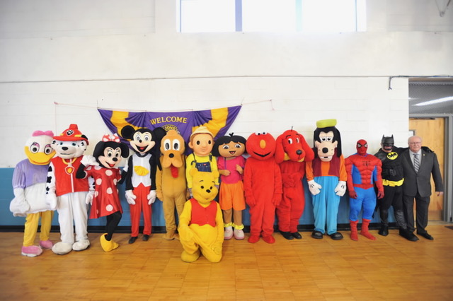 Photo of all characters in costume at the Lions Club Character Breakfast