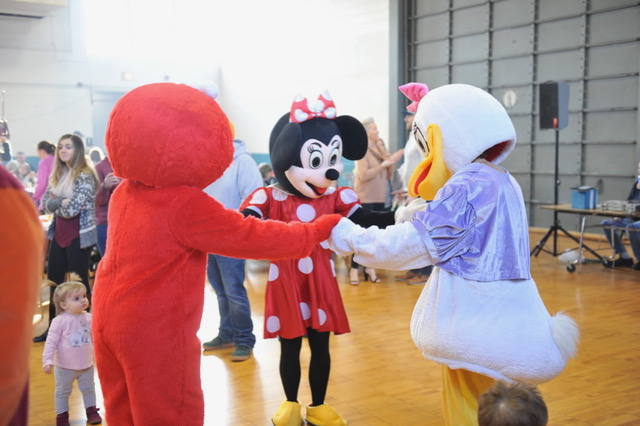 Photo of three characters dancing at the Southbridge Lions Club Character Breakfast
