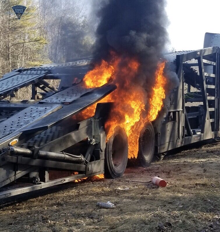 Trailer fire shuts down right lane on Pike eastbound