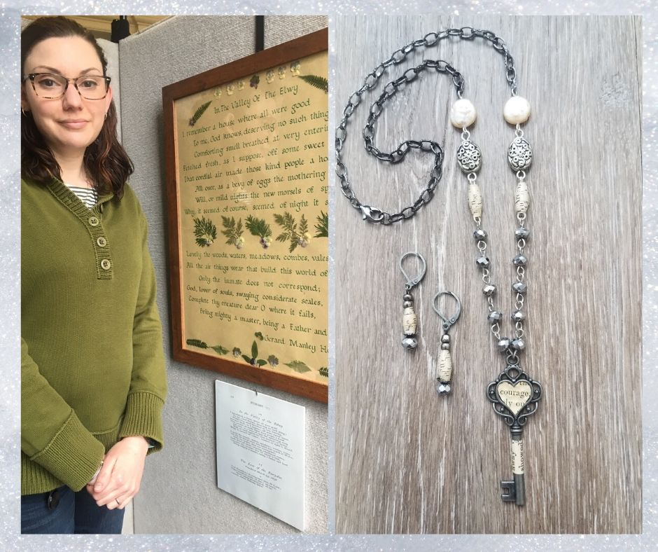Two images depciting Stephanie Cyr with her exhibited calligraphy and the jewelry infused with literary elements by Emily Daly