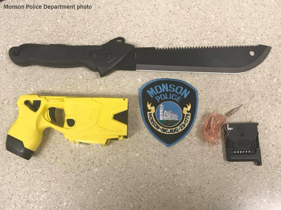 Monson Police use taser to stop knife-wielding male
