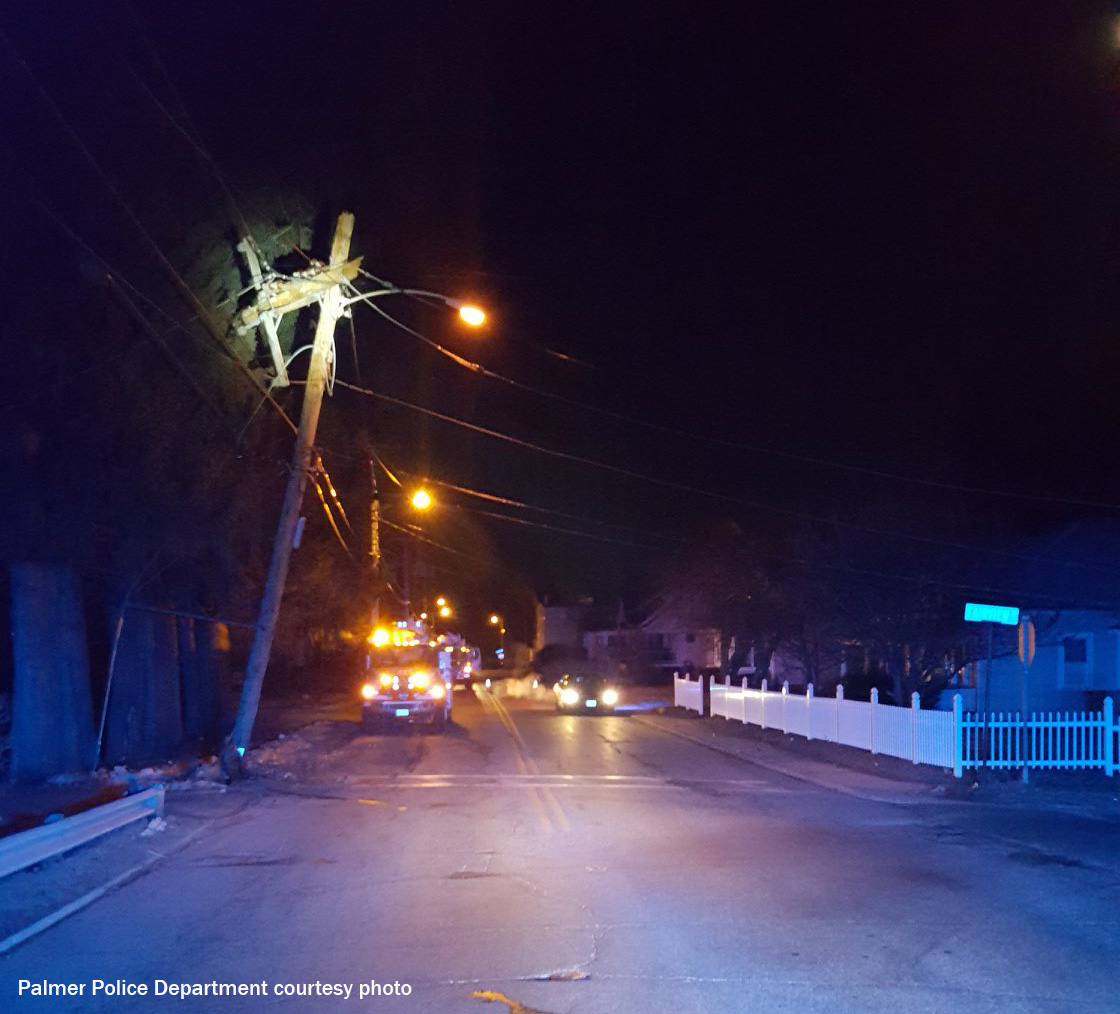 Late night accident claims utility pole in Palmer