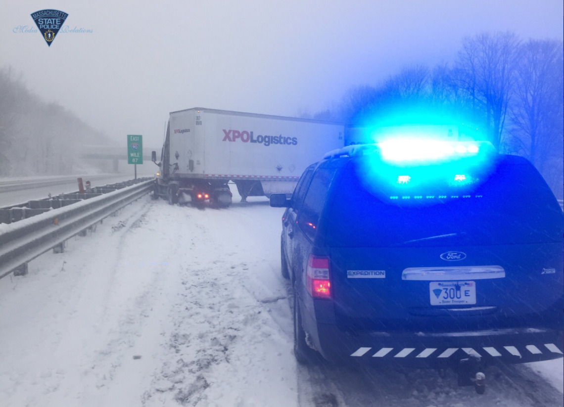 Portion of I-90 closed due to jack-knifed tractor trailer