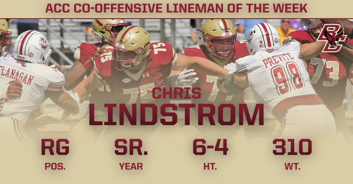 Dudley's Lindstrom named ACC Co-Offensive Lineman of the Week